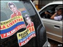 Carteles pidiendo la liberación de Alan Jara.