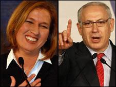 Tzipi Livni, left, and Benjamin Netanyahu
