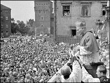 Karol Cardinal Wojtyla (Pope John Paul II) greets crowds from the ramparts of Wawel Cathedral in Krakow (1967)