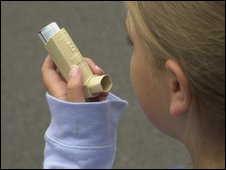 Young girl using asthma inhaler