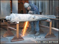 Replica cannon being finished (BBC/Bellwether)