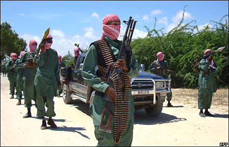 Al-Shabab members on the northern outskirts of Mogadishu in November 2008