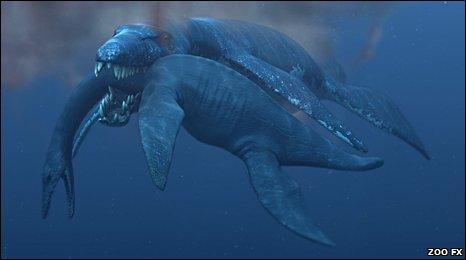 Sea monsters fighting
