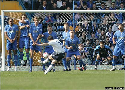 Leighton Baines sublime free-kick served as a stark contrast to the tragedy of football that Portsmouth inflicted upon most of todays match.