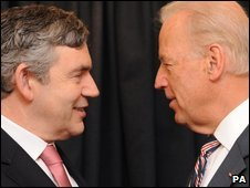 Prime Minister Gordon Brown meets US Vice-President Joe Biden (R) in Chile on Saturday 28 March 2009