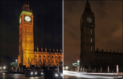 Parliament lit as usual (left) and an unlit Parliament during Earth Hour