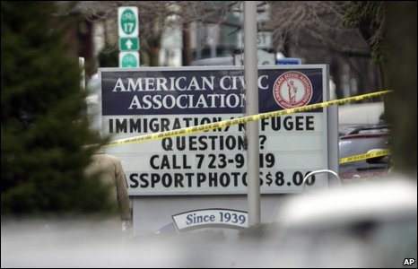 A sign is seen in front of the American Civic Association