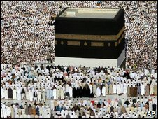 Muslim piligrims at the Kaaba, the focal point in Mecca, Saudi Arabia