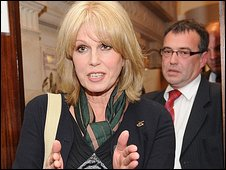 Joanna Lumley and Phil Woolas leave the BBC's office