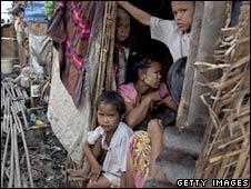 Burmese children in the slum area of Rangoon