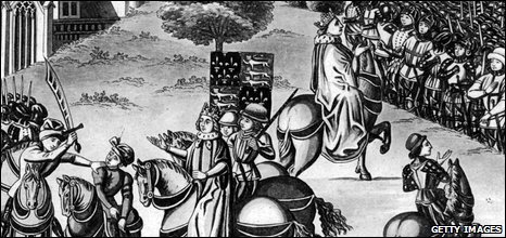 Wat Tyler, the leader of the Peasants' Revolt, being killed by the Mayor of London William Walworth