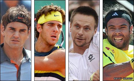 Roger Federer, Juan Martin del Potro, Robin Soderling and Fernando Gonzalez