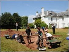 Archaeologists from the University of Bristol excavate the nunnery