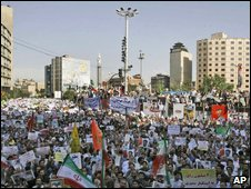 Supporters of President Mahmoud Ahmadinejad in Vali Asr Square in Tehran on Tuesday