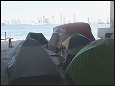 Tents set up by released sex offenders under a road bridge in Miami