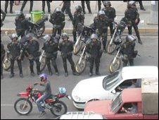 Police at Enghelab Square, Tehran, 20 June, 2009, from Persian TV
