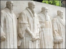 Reformation Wall in Geneva with statues of William (Guillaume) Farel, John (Jean) Calvin, Theodore de Beze, and John Knox