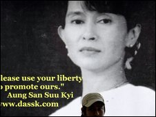 Poster of Aung San Suu Kyi in Seoul, South Korea - 21/6/2009