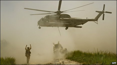 A US Marine helicopter delivers supplies in Helmand province, 11 July