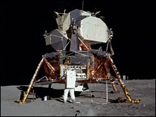 Buzz Aldrin in front of lunar module