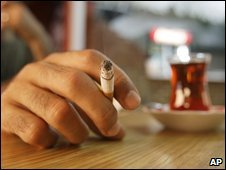 A man smoking in a cafe in Istanbul, Turkey (17 July 2009)