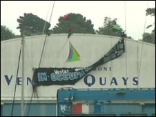 The protesters on the Venture Quays building in Cowes