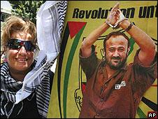 Woman with poster of Marwan Barghouti, Lebanon (03.07.09)