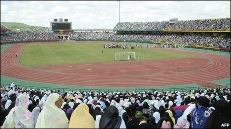 A demonstration in Bamako's main stadium on August 22