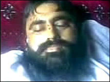 Still from the video showing the body of Baitullah Mehsud