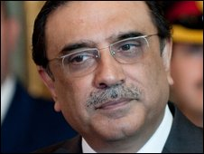 """Pakistani President Asif Ali Zardari listens to questions during a press briefing following the meeting with Italy""""s President Giorgio Napolitano at Quirinale, the presidential palace, in Rome on September 29, 2009."""
