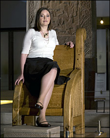 Supposedly Pictish throne replica on display at the National Museum of Scotland