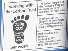 Carbon label on detergent bottle in the UK