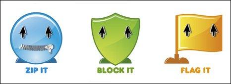 Zip it, Block it, Flag it logo