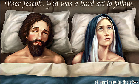 Mary and Joseph billboard from St Matthew-in-the-City church in Auckland