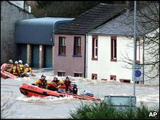 A flooded street in Cockermouth