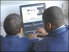 Pupils using a laptop