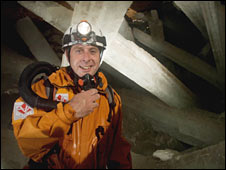 Iain Stewart in the cave of crystals