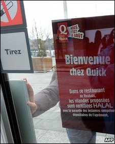 Sign advertising Halal meat at a Quick restaurant in Roubaix, France, 17 February 2010