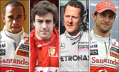 Lewis Hamilton, Fernando Alonso, Michael Schumacher and Jenson Button