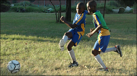 South African team playing football