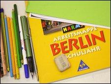 Schoolbooks and pencils at a Berlin school