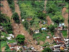 Aerial view of an urban area devastated by a mudslide north of Rio de Janeiro, Brazil, 8 April, 2010