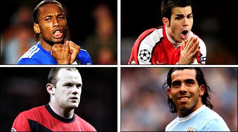 Didier Drogba, Cesc Fabregas, Wayne Rooney, Carlos Tevez