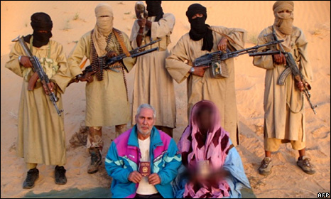 A photograph released by al-Qaeda in the Islamic Maghreb allegedly showing Sergio Cicala and his wife, Philomene Kabouree (30 December 2009)