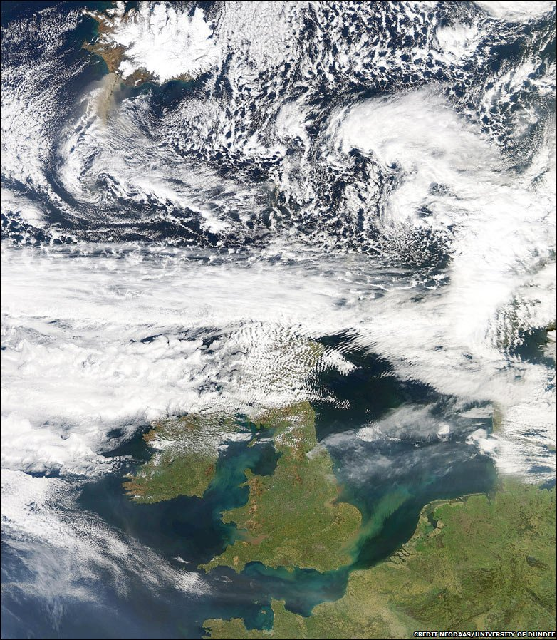 The volcanic ash plume from Iceland, top left, to northern France, pictured by Nasa's Terra Satellite , 17 April