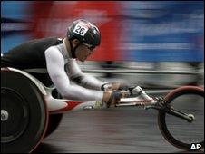 Wheelchair in race, AP