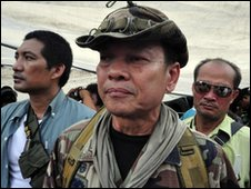 Gen Khattiya Sawasdipol, also known as Seh Daeng at the Bangkok protest camp the day he was shot - 13 May 2010
