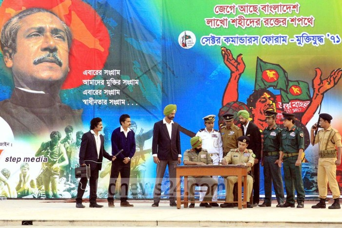 Bangladeshi theater artistes recreate surrender of Pakistani forces in Dhaka