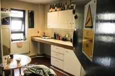 Our beloved kitchen- a former medicine cabinet. Beware: compressed gas!