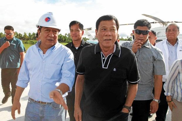 President Rodrigo Roa Duterte is welcomed by Albay Governor Al Francis Bichara upon his arrival at Legazpi City in Albay for the groundbreaking ceremony of the newBicol International Airport Terminal on December 8, 2016. ACE MORANDANTE/Presidential Photo
